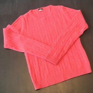 J. Crew cableknit sweater. Medium, coral.